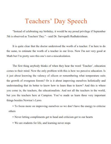 thank you speech for teachers template