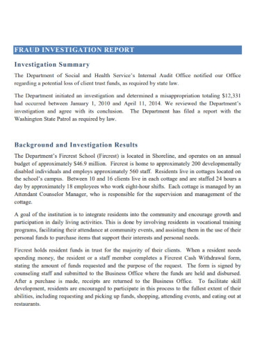 theft investigation report template