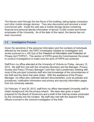 theft university investigation report