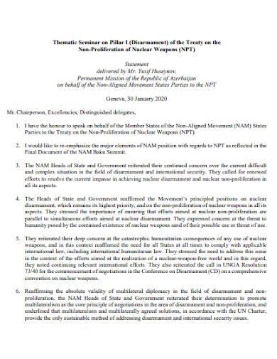 thematic seminar statement