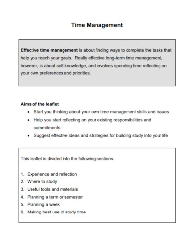 time management essay template