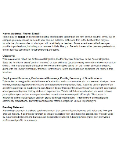 undergraduates resume opening statement