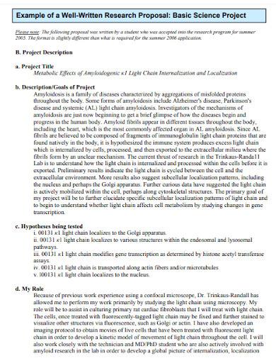 university basic science project proposal