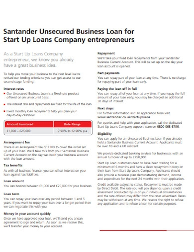 unsecured business startup loan
