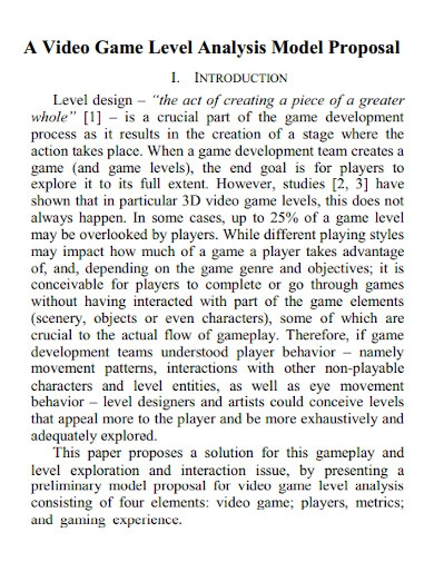 video game level design proposals