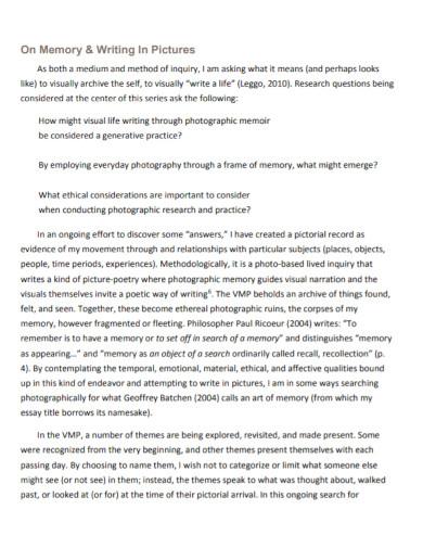 visual memoir project essay