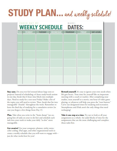 weekly study plan schedule