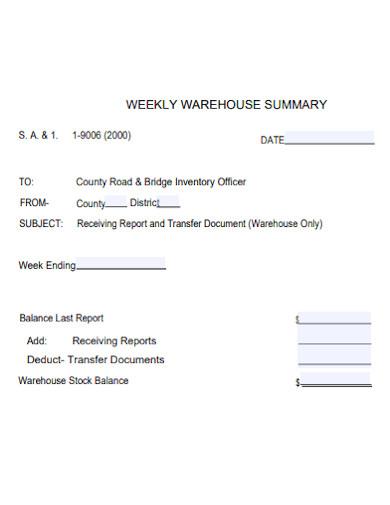 weekly warehouse summary report