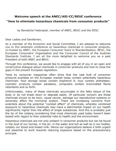 welcome speech for consumer conference