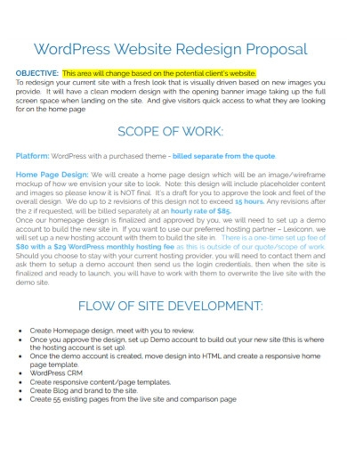 wordpress website redesign proposal