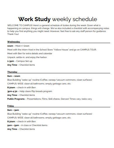 work study weekly schedule