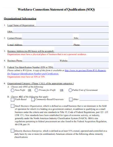 workforce statement of qualifications