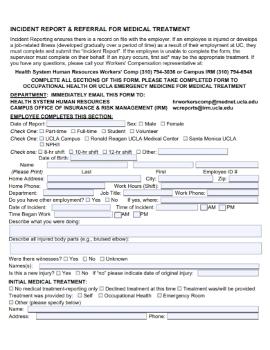 workplace medical treatment incident report