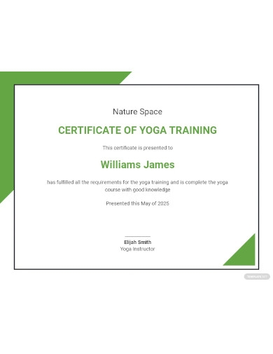yoga completion certificate template