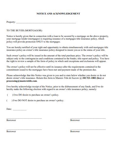 acknowledgement property report