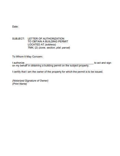 aurthorization letter for building