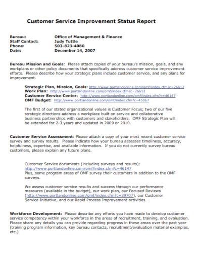 customer service improvement report