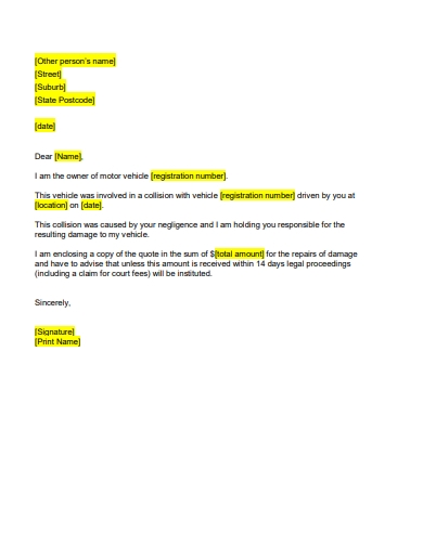 formal accident report letter