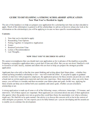 formal study plan for scholarship application