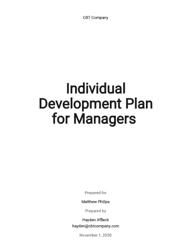 individual development manager plans