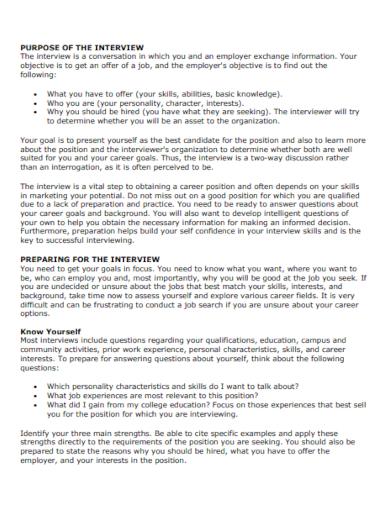 job interview summary format
