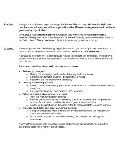 job interviews executive summary