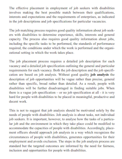job work analysis report