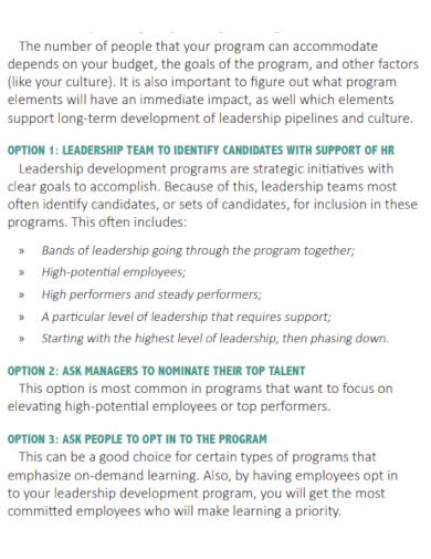 leadership development program goals
