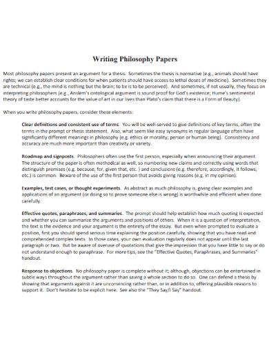 philosophy paper format