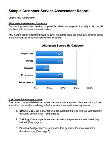 samnple customer assesment service report