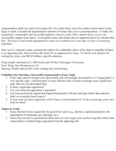 sample argumentative essay for students