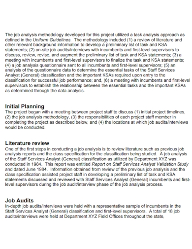 sample job analysis report