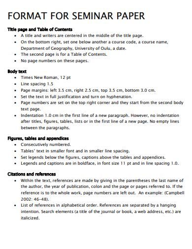 seminar paper outline format