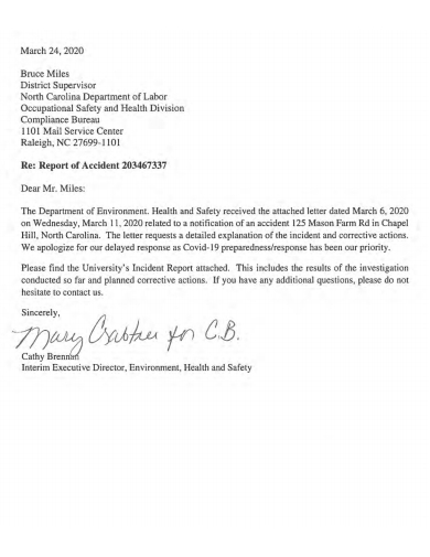 simple accident report letter