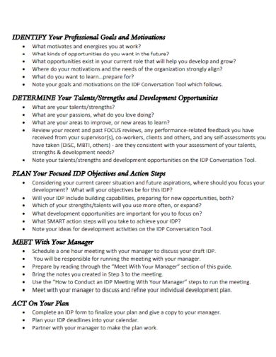 steps for development plan for managers