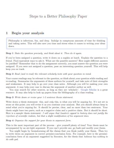 steps for philosophy paper