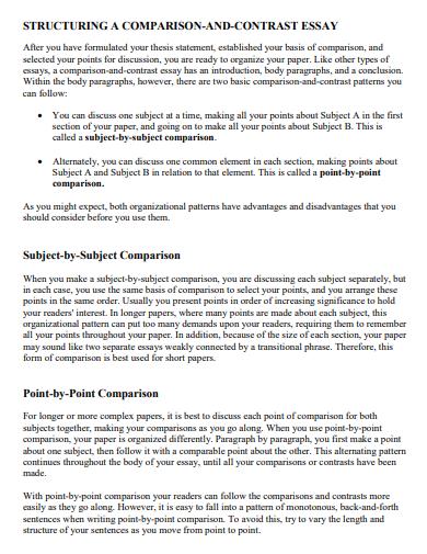 structuring comparision essay