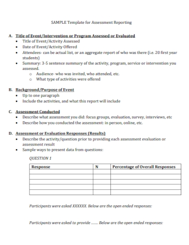 student assessment report template