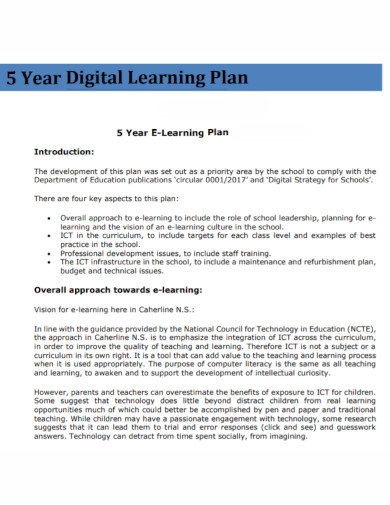 5 year digital learning plan