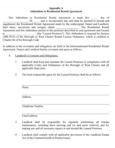 addendum to residential rental agreement