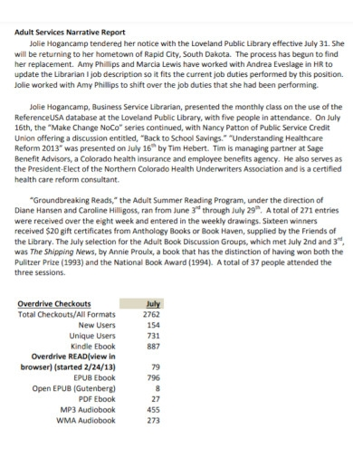 adult services monthly narrative report