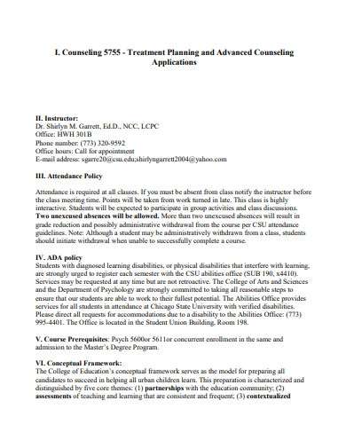 advanced counseling treatment planning