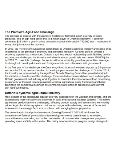 agency agriculture business plan