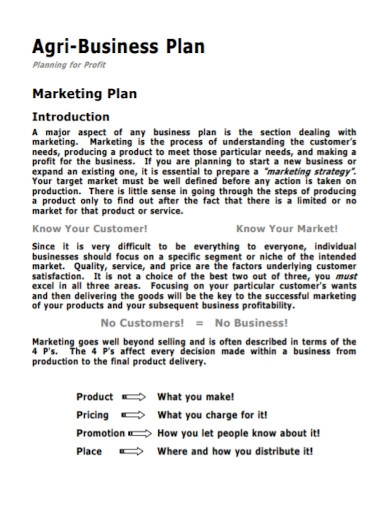 agriculture business marketing plan