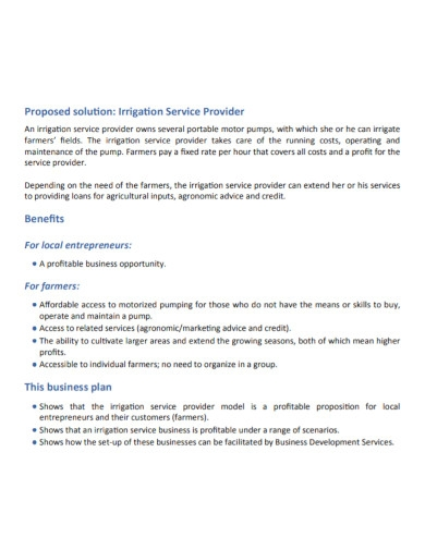 agriculture water management business plan