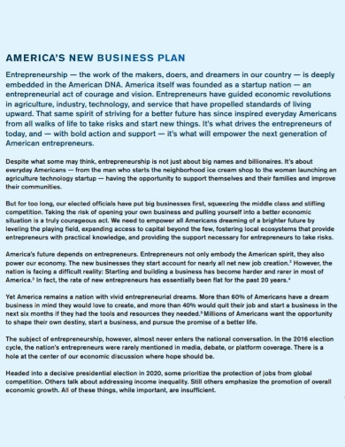 americas new business plan