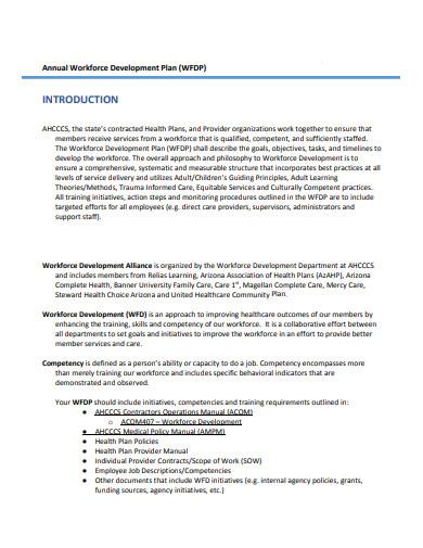 annual workforce development plan