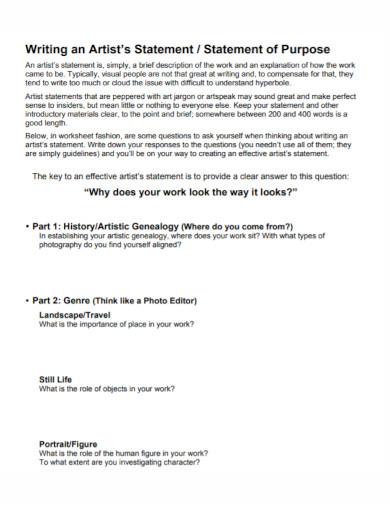 artist history statement worksheet