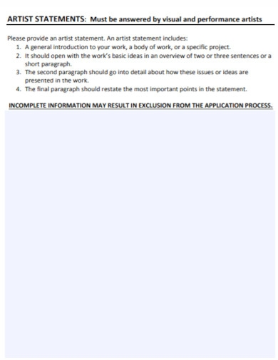 artist statement application worksheet