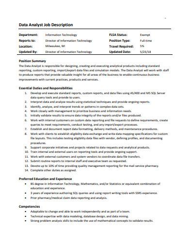 basic data analyst job description